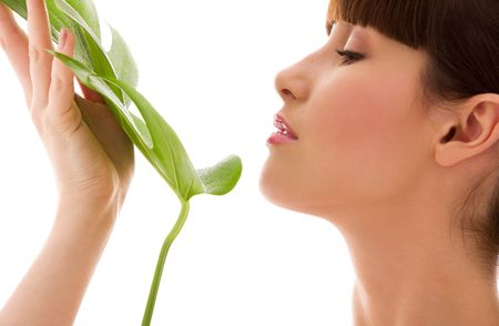 picture of woman with green leaf over white Stock Photo - 4652940