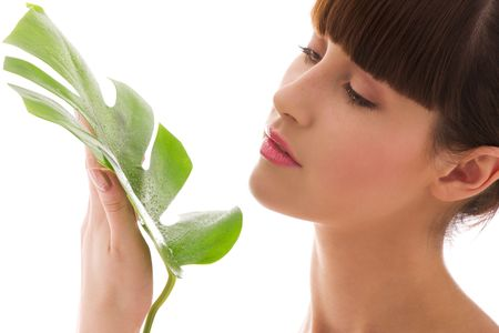 picture of woman with green leaf over white Stock Photo - 4652944