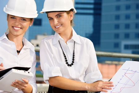 contractors in a front of building site Stock Photo - 4652937