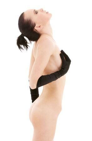 lovely naked woman in black gloves over white Stock Photo - 4652960