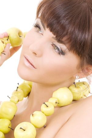 picture of beautiful woman with green apples Stock Photo - 4690250