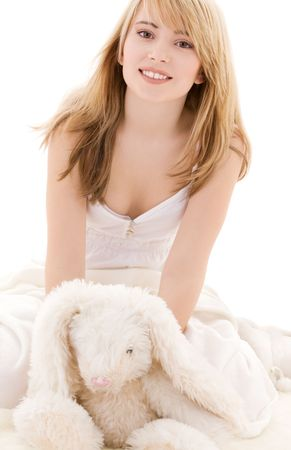 picture of teenage girl with plush toy Stock Photo - 4670088
