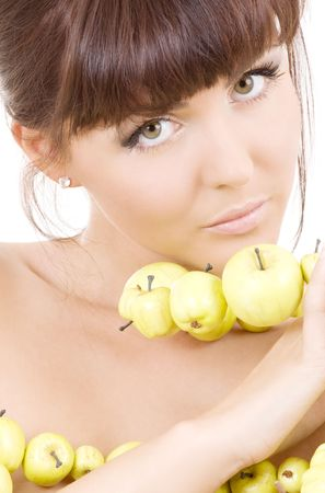 picture of beautiful woman with green apples Stock Photo - 4780043