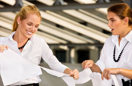 bright picture of two angry businesswomen fighting Stock Photo - 4780038