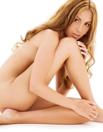 naked sexy girl: picture of healthy naked woman over white
