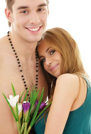 picture of couple in love with flowers (focus on man)