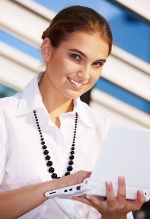 picture of happy businesswoman with laptop computer Stock Photo - 4810113