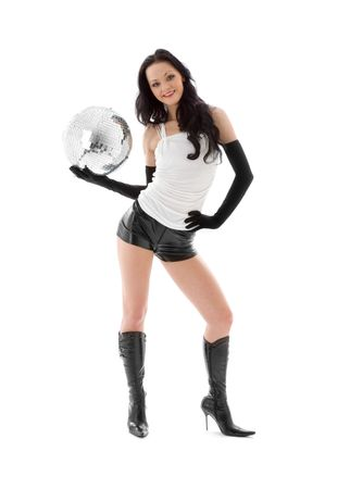 picture of woman in leather shorts with disco ball Stock Photo - 4810101