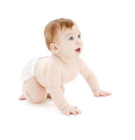 crawling baby: picture of crawling baby boy in diaper over white