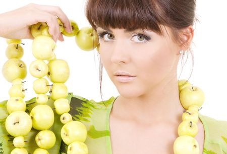 picture of beautiful woman with green apples Stock Photo - 4827540