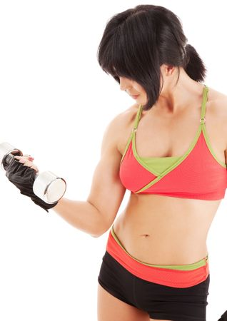 muscular fitness instructor with dumbbells over white Stock Photo - 4827528