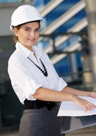 happy contractor in a front of building site Stock Photo - 4835782
