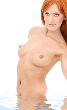 picture of healthy naked redhead in water Stock Photo - 4861354