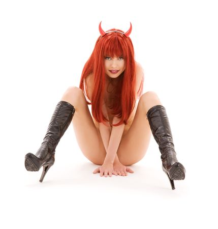 picture of naked red devil girl over white Stock Photo - 4861351