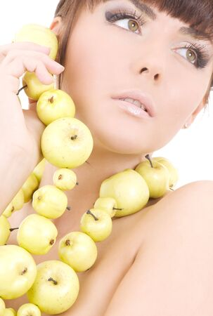 picture of beautiful woman with green apples Stock Photo - 4870307