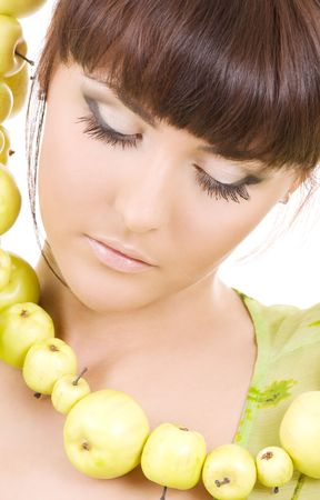 picture of beautiful woman with green apples Stock Photo - 4870320