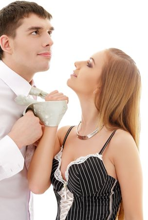 bright picture of conflicting couple over white Stock Photo - 4870311