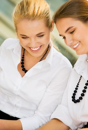 picture of two happy girls (focus on blonde) Stock Photo - 4870289