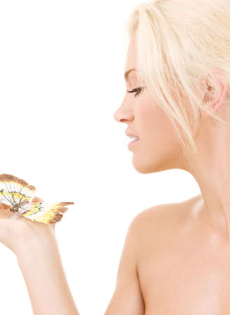 picture of healthy beautiful woman with butterfly Stock Photo - 4878867