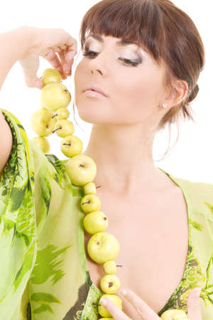 picture of beautiful woman with green apples Stock Photo - 4894045