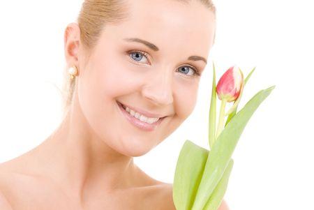 immagine di donna con fiori felici su bianco Archivio Fotografico - 4894013