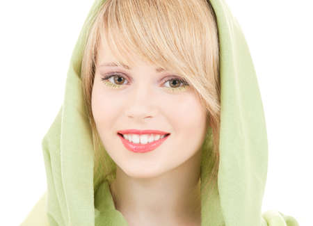 picture of teenage girl in green kerchief Stock Photo - 4894040