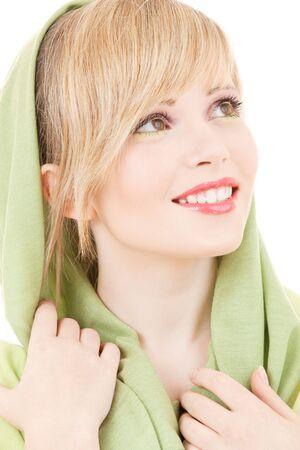 picture of teenage girl in green kerchief
