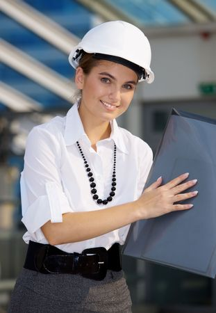 happy contractor in a front of building site Stock Photo - 4900545