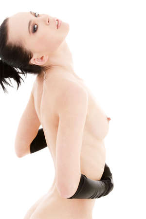 lovely naked woman in black gloves over white Stock Photo - 4900567