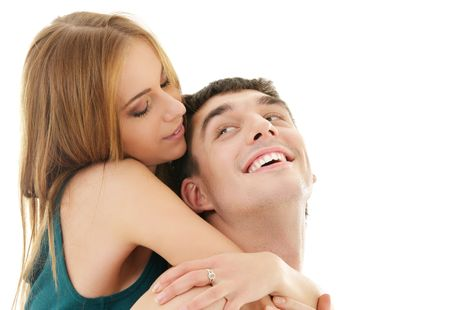 picture of couple in love over white Stock Photo - 4910834