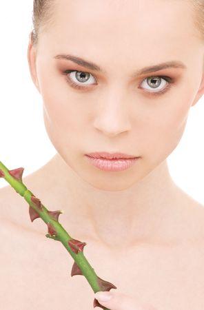 closeup portrait of beautiful woman over white Stock Photo - 4910812