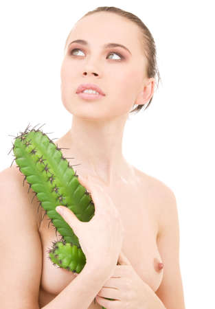 picture of beautiful topless woman with cactus Stock Photo - 4910814