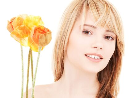 bright picture of lovely teen with flowers Stock Photo - 4918263