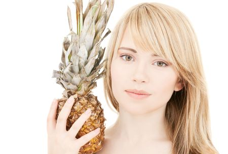 bright picture of lovely blonde with pineapple Stock Photo - 4918264