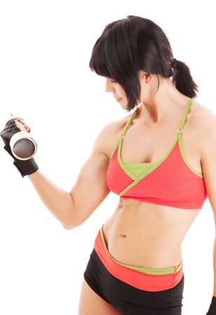 muscular fitness instructor with dumbbells over white Stock Photo