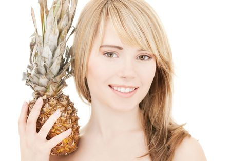 bright picture of lovely blonde with pineapple Stock Photo - 4946538