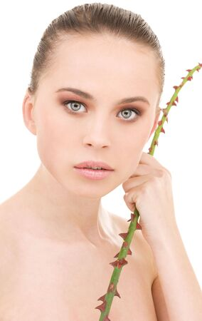 closeup portrait of beautiful woman over white Stock Photo - 4946559