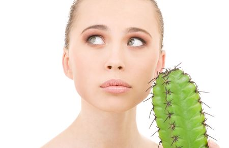 closeup portrait of beautiful woman with cactus Stock Photo - 4946556