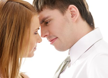 picture of conflicting couple over white (focus on man) Stock Photo - 4946586