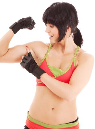 lovely fitness instructor working out over white Stock Photo - 4955536