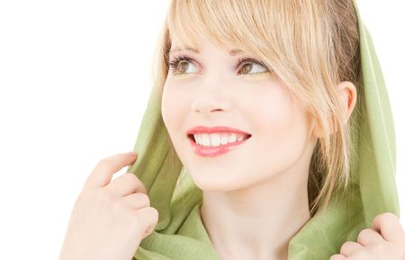 picture of teenage girl in green kerchief Stock Photo - 4955557