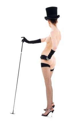 hat nude: naked woman in top hat with riding crop LANG_EVOIMAGES