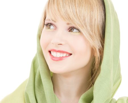 picture of teenage girl in green kerchief Stock Photo - 4977239