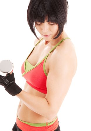 muscular fitness instructor with dumbbells over white Stock Photo - 4977236