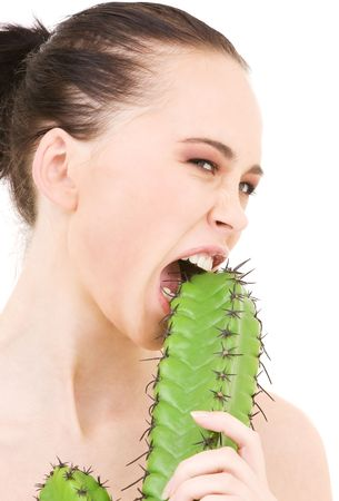 closeup portrait of beautiful woman biting cactus Stock Photo - 4977237