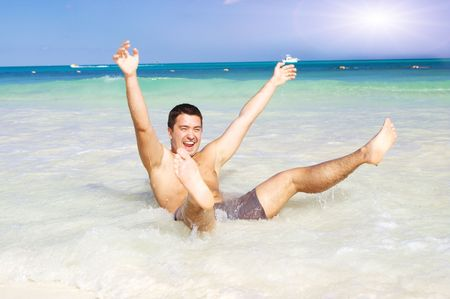picture of happy man on the beach Stock Photo - 4977270