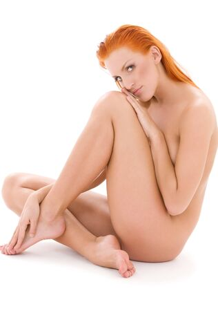 bright picture of healthy naked redhead over white Stock Photo - 4987548