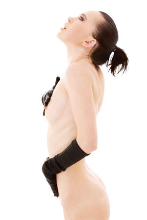 lovely naked woman in black gloves over white Stock Photo - 4987559