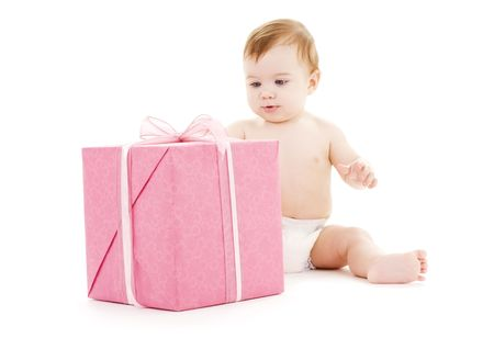 picture of baby boy with big gift box Stock Photo - 4994864
