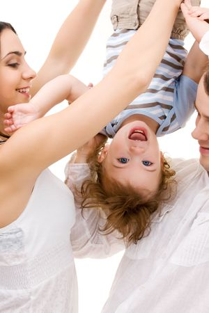 bright picture of happy family over white Stock Photo - 4994883